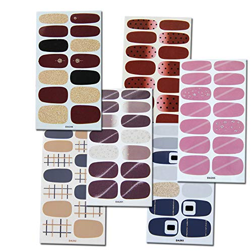 6 Sheets Full Wraps Nail Polish Stickers with Nail Art Polish Stickers Strips Self-Adhesive Nail Art Decals Strips Manicure Kits for Women Girls Nail Art Designs Decoration Supplies