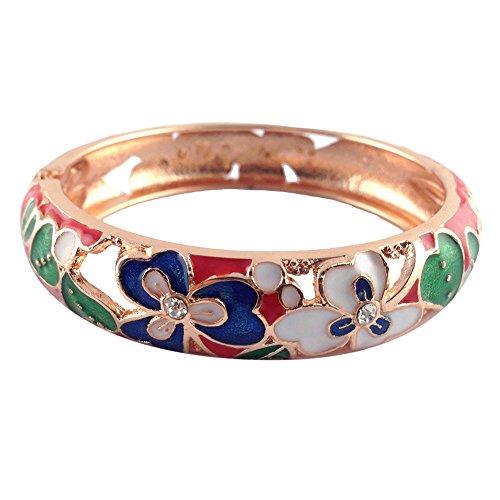 Enamel Vintage Bangles - UJOY Colorful Cloisonne Handcraft Bracelet Bangle Rhinestone Spring Hinge Vintage Enamel Jewelry Womens Gifts with Box 88A22 Clover red