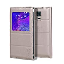 Galaxy Note 4 Case, Galaxy Note 4 S View Case, Huijukon Premium Leather S-View Flip Cover Folio Case[Clear View Window] for Samsung Galaxy Note 4 (Golden)