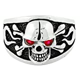 Flaming Danger Skull Sterling Silver 925 Simulated Ruby-Tone Red Cubic Zirconia Eyes
