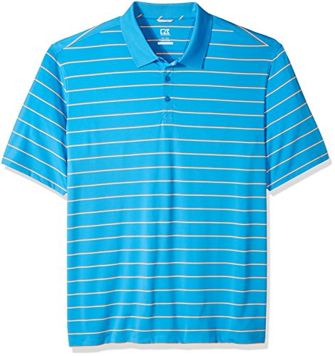 Cutter & Buck Men's Moisture Wicking UPF 50+ Everett Multi-Stripe Polo Shirt, Poolside/Clarity, Large