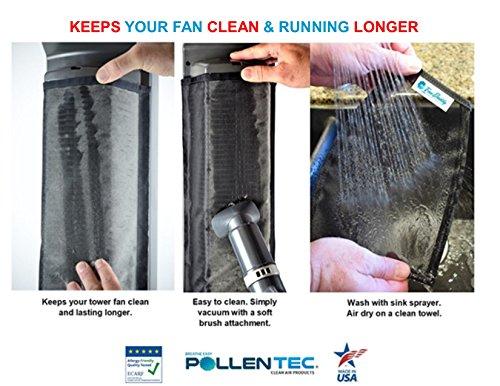 """PollenTec with Lasko Model 2551 42"""" Curve Fan Filter Keeps Fan Clean Longer Effective Pet Dander"""