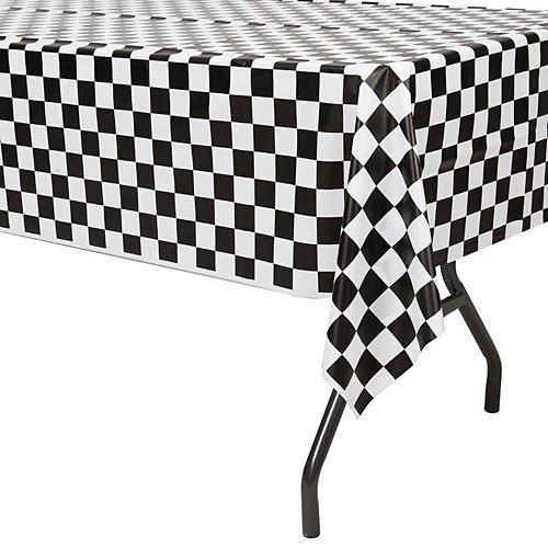 Black And White Checker (Royal 54 x 108 Plastic Table Cloth, Plastic Party Table Cover, Reusable Plastic Table Cloth, Disposable Rectangular Table Cover, Blue Red and Black - White Checkers (4, Solid Black & White Check))