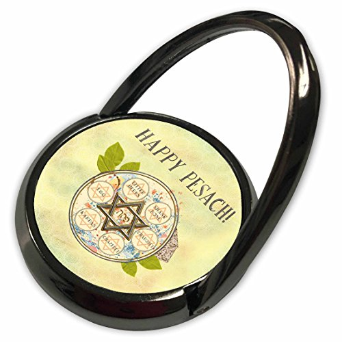 Design Shank Ring - 3dRose Beverly Turner Passover Design - Happy Pesach, Star of David, Seder Plate, Herbs, Egg, Shank Bone - Phone Ring (phr_282066_1)