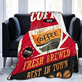 Janrely Ultra-Soft Micro Fleece Blanket,Coffee Retro Tin Sign On Red Cafe Bar Interior Promotional Material Vintage Cup…