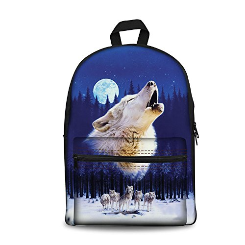 FOR U DESIGNS Printing Backpack Children Boys Girls Middle School Bags Wolves Howling at Moon Blue