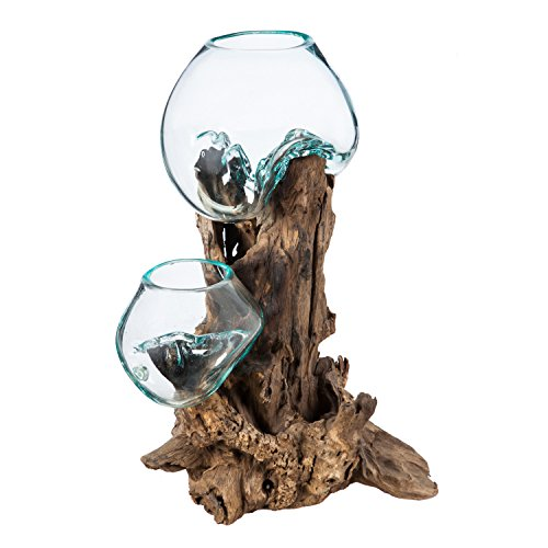 Cape Craftsmen Medium Double Hand-Blown Bubble Glass Blue Tinted One of a Kind Hand-Made Terrarium Décor
