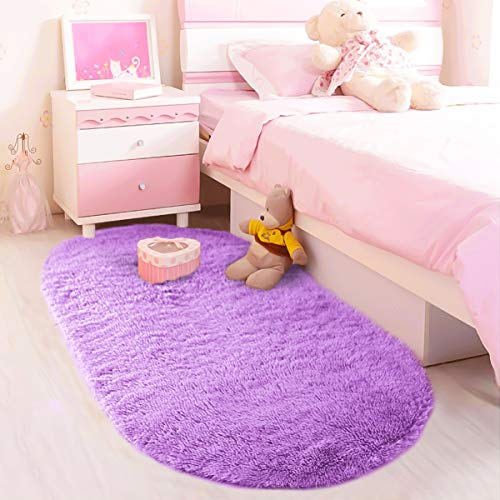 LOCHAS Ultra Soft Children Rugs Room Mat Modern Shaggy Area Rugs Home Decor 2.6' X 5.3', Purple (Rugs Little Pony Bathroom My)