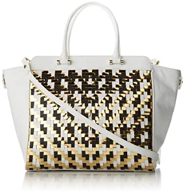 MILLY Dylan Woven Tote Shoulder Bag,White,One Size