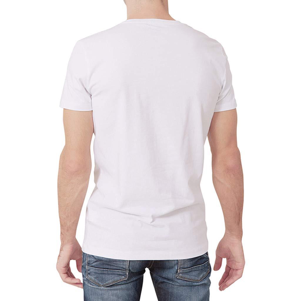 Men Spring Summer Shirt Tee Top Blouse Sport Casual Short Sleeve Top Sales YOcheerful Mens White Short Sleeve Tee