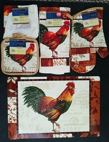 The Pecan Man COLORFUL FEATHER ROOSTER Everyday Decor Kitchen Set of 7, 1 OVEN MITT & 2 Pot Holders & 2 Dish Cloths & 1 Kitchen Towel & 1 Placemat