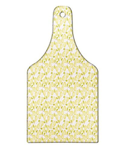 Lunarable Summer Cutting Board, Pale Tone Pears with Green Leaves Fresh Sweet Summer Fruits Pattern, Decorative Tempered Glass Cutting and Serving Board, Wine Bottle Shape, Green Pale Yellow and White