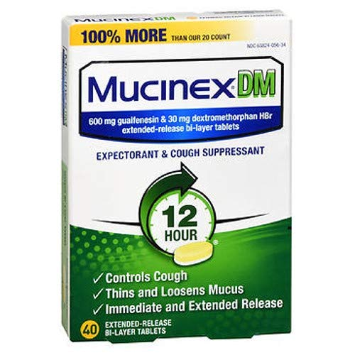 Mucinex DM 12-Hour Expectorant and Cough Suppressant Tablets, 40 ct ()