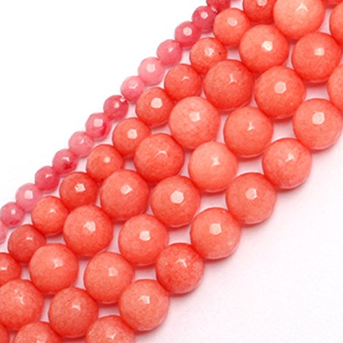 GEM-inside 8mm Round Smooth Gemstone Faceted Pink Jade Beads For Jewelry Making Strand (Pink Jade Round Beads)