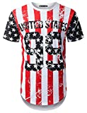 #6: URBANTOPS Mens Hipster Hip Hop USA Flag Graphic Longline T-Shirt (Various Style)