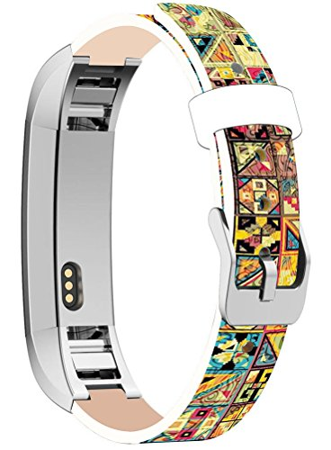 Bands Replacement for Fitbit Alta HR, Cisland Compatible Straps Replacement for Fitbit Alta (HR) Silver Connectors + Lovely Beautiful Brown Personalized Printing ()