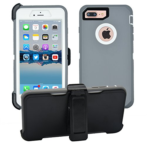 iPhone 7 Plus / 8 Plus Cover | 2-in-1 Screen Protector & Holster Case | Full Body, Military Grade Edge-to-Edge Protection with carrying belt clip, Grey / White