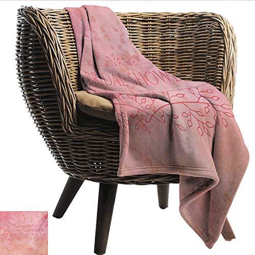EwaskyOnline Bridal Shower Flannel Blanket Bride Invitation Grunge Abstract Backdrop Floral Design Print Camping Throw,Office wrap 60