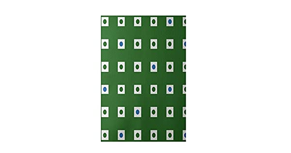 E by design RGN203GR2BL21-35 Hip to Be Square Geometric Print Indoor//Outdoor Rug Leaf Green