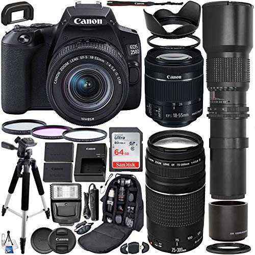 Canon EOS 250D (Rebel SL3) DSLR Camera with 18-55mm & 75-300mm Canon Lenses & 500mm Lens with 2X Teleconverter (1000mm) & Premium Accessory Bundle – Includes: SanDisk Ultra 64GB Card & More