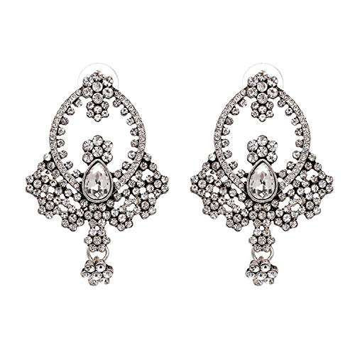 - Trend Style Jewelry Party Statement vintage glass crystal Stud earring vintage for women 3 colors,clear