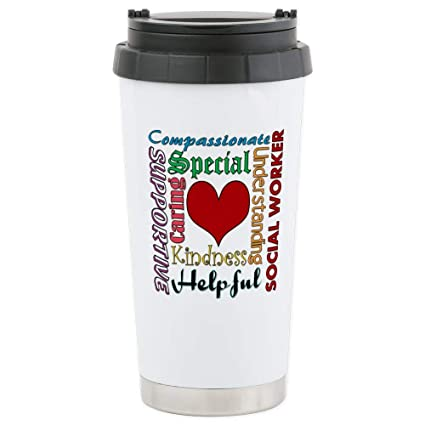 2907410bef4 Image Unavailable. Image not available for. Color: CafePress Social Worker  Travel Mug Stainless Steel Travel Mug, Insulated 16 oz. Coffee Tumbler