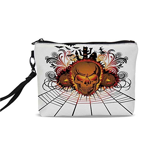 (Halloween Decorations Simple Cosmetic Bag,Angry Skull Face on Bonfire Spirits of Other World Concept Bats Spider Web for Women,9