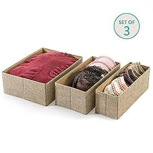 Drawer Storage Bins, Set of 3, Decorative Closet Organizer Bins Fabric Drawer Dividers, Easy to open and folds flat for storage, Great Drawer Organizer for Storing Underwear & Socks(Beige)