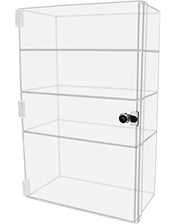 """Acrylic Counter Top Display Case 8/""""x 8/"""" x19/""""Locking Cabinet Showcase Boxes"""