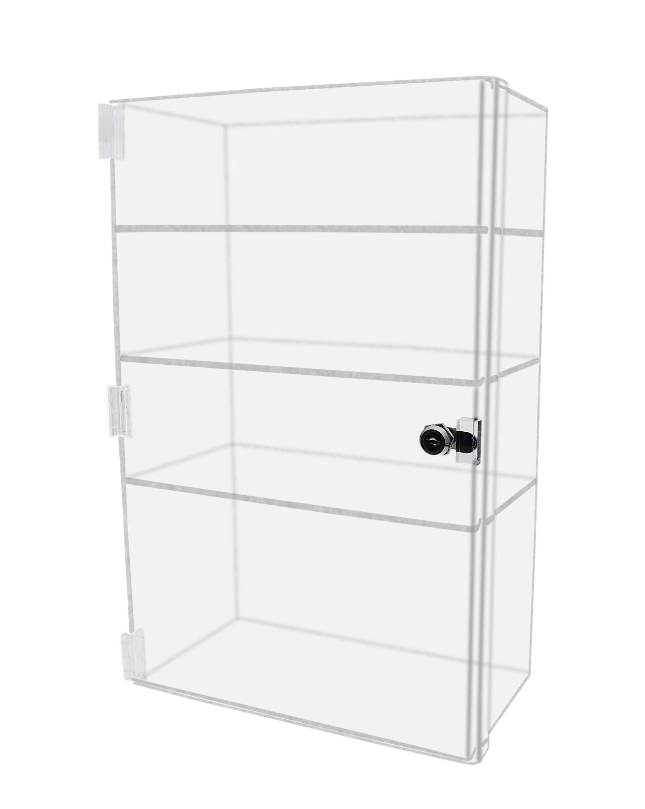 Marketing Holders Security Locking Case Bakery Pastry Cabinet Display with Lock and 2 Keys Acrylic Jewelry Show Case Stand 4 Shelf Cabinet 12''w x 6''d x 19''h