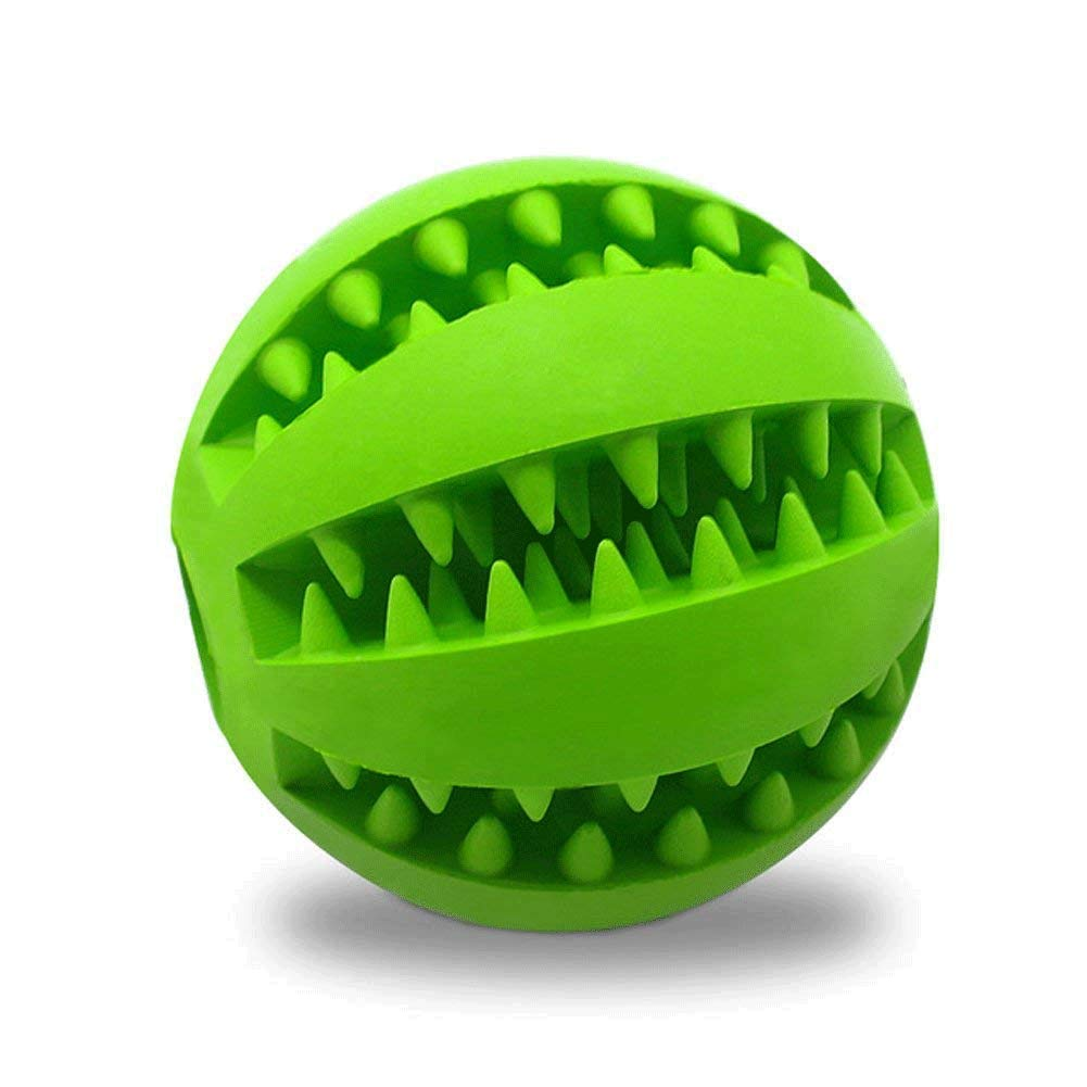 Zqasales Pet Toy Ball for Dogs, Bite Resistant Soft Rubber Bouncy Ball Treat Ball Dog Toys, Tooth Cleaning Dog Chew Toy (Green) (Green)