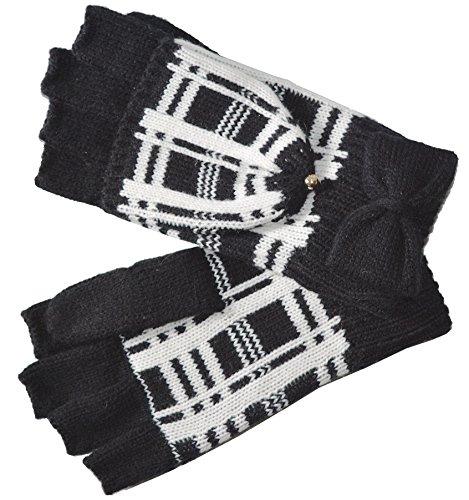 Kate Spade New York Women's Scuba Plaid Pop Top Gloves (One Size, Black/Cream (001))