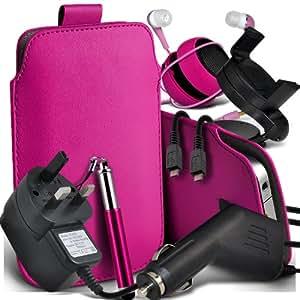 Sony Xperia M Protective PU Leather Slip Tire Cord En la bolsa del lanzamiento rápido con Mini capacitiva lápiz óptico retráctil, 3.5mm en auriculares del oído, Mini recargable altavoz de la cápsula, Micro USB CE aprobó 3 Pin Cargador 12v Micro cargador de coche, 360 Rotación Sostenedor del coche (Hot Pink)