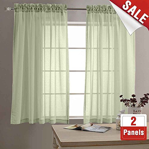 Sheer Kitchen Curtain (Sheer Curtains for Living Room 63 inch Length Window Curtains for Bedroom Sheers Rod Pocket Voile Curtain Set (1 Pair, Sage))