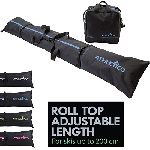 Athletico Two-Piece Ski and Boot Bag Combo | Store & Transport Skis Up to 200 cm and Boots Up to Size 13 | Includes 1 Ski Bag & 1 Ski Boot Bag (Black with Blue Trim)