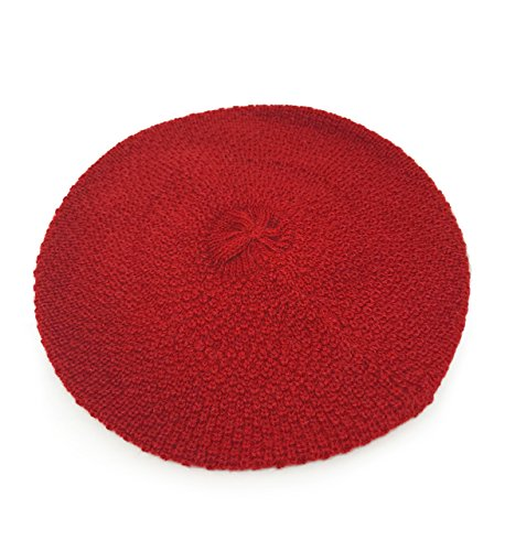 100% Pure Baby Alpaca Knit Beret - Soft Slouchy Style Tam for Women (Dark Red) ()
