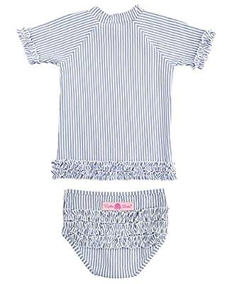 RuffleButts Little Girls Rash Guard 2-Piece Swimsuit Set - Seersucker Bikini with UPF 50+ Sun Protection