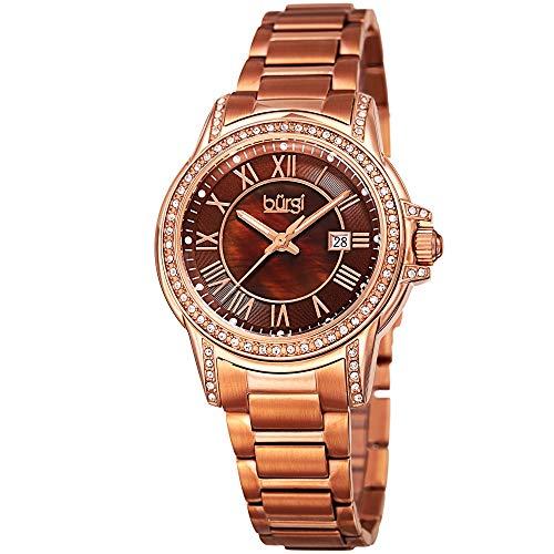 Burgi CZ Studded Designer Women's Watch – Rose Gold Tone Stainless Steel Bracelet Band, Cubic Zirconium Gemstone Bezel, Mother of Pearl Dial - BUR168RGBR