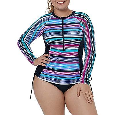 XAKALAKA Women's Plus Size Zip-Front Multicolor Striped Long Sleeve Tankini Rashguard Top S-XXXL at Women's Clothing store