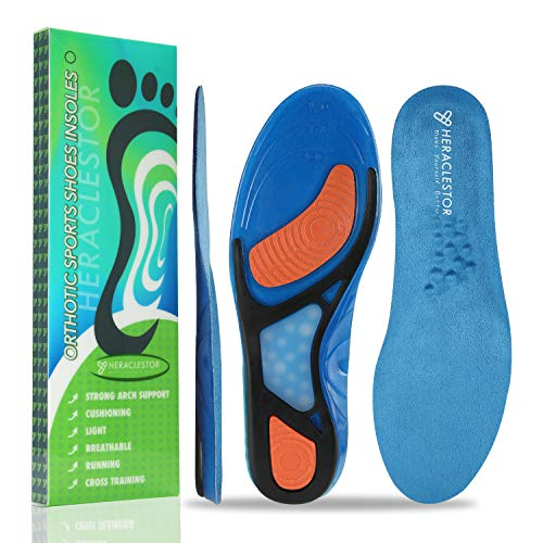 Shoes Insoles/Insert for Men and Women Shock-Absorbing Arch Support and Cushioning for Plantar Fasciitis Relieve Flat Feet, High Arch, Foot Pain L(Men 8-13)