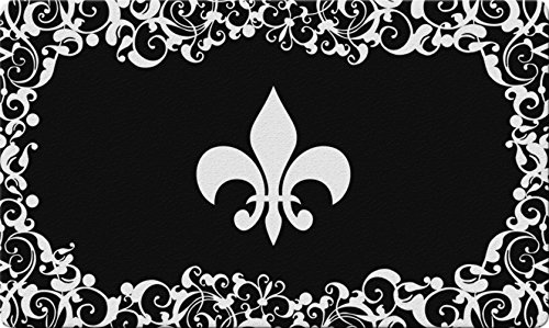 Toland Home Garden Fleur De Lis 18 x 30 Inch Decorative Floor Mat Classic Flower Design Pattern Doormat ()