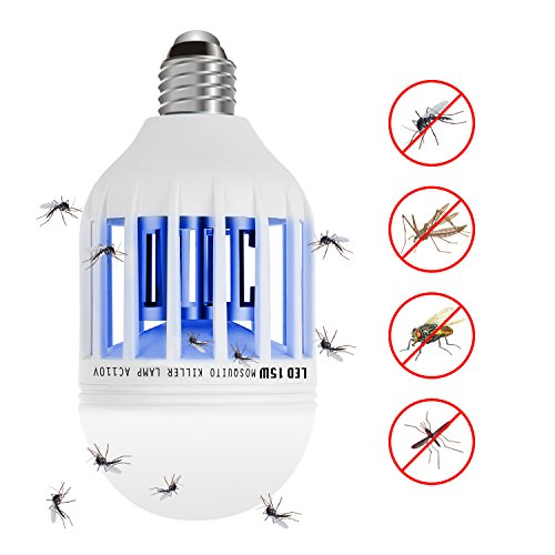 TBNEVG Bug Zapper Light Bulb Lamp,Electronic Mosquito Insect Fly Trap Killer, 110V 15W Mosquito Repellent Bulb for Home Indoor Outdoor Garden Patio Backyard by