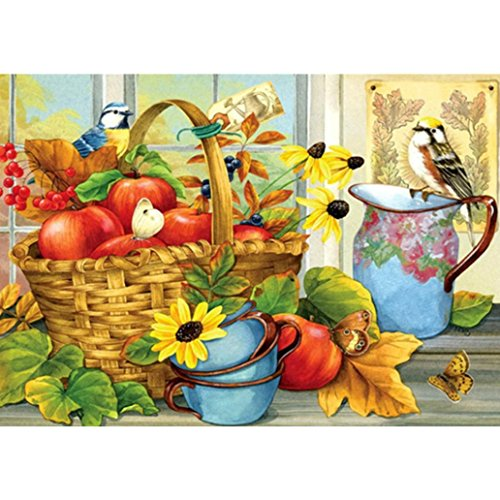 mond Painting By Number Kits, Flower basket and Fruit Pattern Full Round Drill DIY Diamond Paintings Cross Stitch Pictures Arts Craft for Home Wall Decor (Butterfly Dreams Flower Girl Basket)