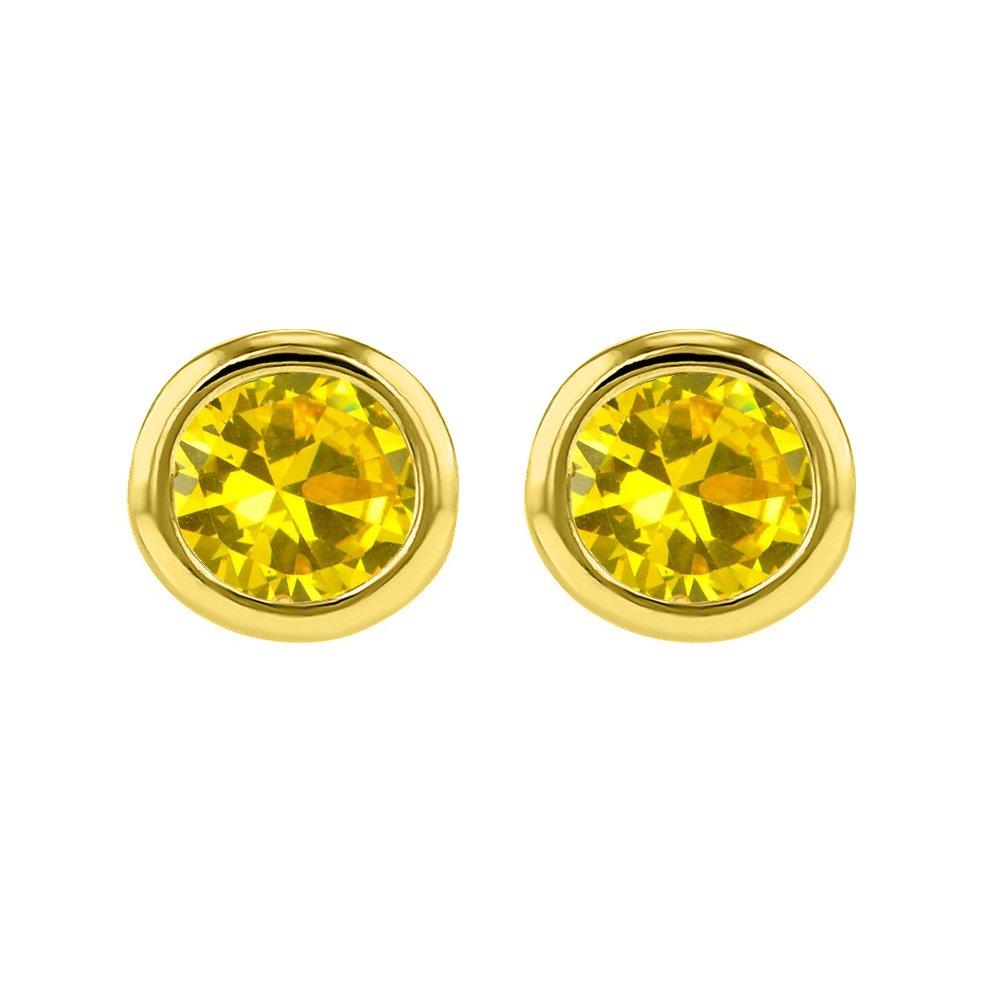 14k Yellow Gold 4 mm Bezel-set Cubic Zirconia November Birthstone Stud Earrings
