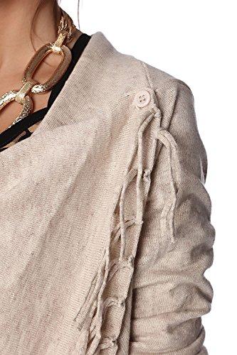 Q2 Mujer Chaqueta de punto beige con detalle de flecos