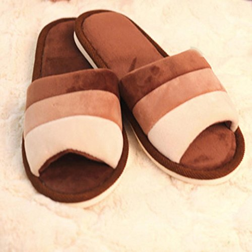 Elevin(TM)Women Men Winter Warm Candy Color Cotton Slippers Home Anti-slip Shoes Coffee XfljBmf