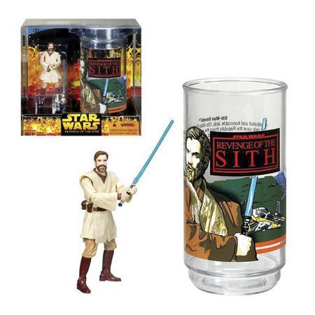 Star Wars Year 2005 Revenge of the Sith Movie Series Exclusive 4 Inch Tall Action Figure Gift Set : Obi-Wan Kenobi with Additional Hand Plus Star Wars Collectible Plastic Cup
