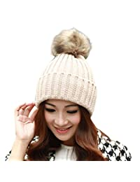 Womens Hat, ABC® Women Winter Fur Ball Hat Crochet Knitted Wool Warm Cap