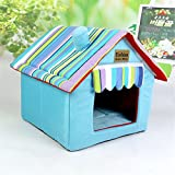 Soft Pet House Pet Mat always-quality Indoor Outdoor Dog House Small to Medium Pet All Weather Doghouse Puppy Shelter (M - Blue)