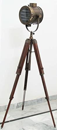 Nautical Designer Spot Searchlight Studio Floor Lamp With Rosewood Tripod  Stand